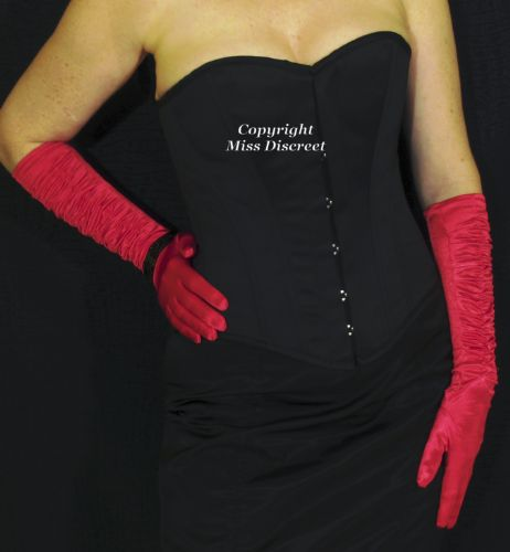 Ladies Chilli Red Satin Elbow Length Opera Style Evening Gloves with Eye-Catching Ruched Fronts